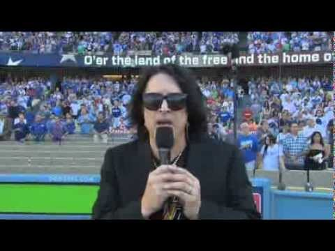 Paul Stanley Sings The National Anthem at Dodger Stadium - Interview Included
