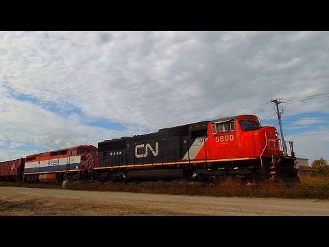 CN 5800, BC Rail Dash-8, Grain Trains and More CN Action Along the Rivers Subdivision (10/01/2016)