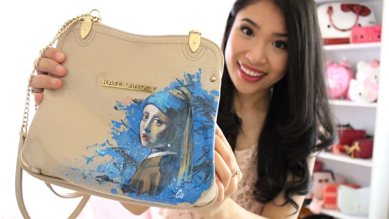 Hand Painted Designer Handbag Girl With A Pearl Earring