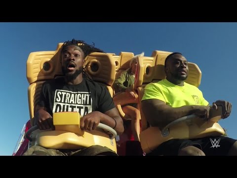 The New Day and Lana ride the Hollywood Rip Ride Rockit