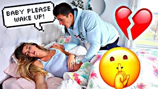 NOT WAKING UP PRANK ON FIANCE!! *Cute Reaction*