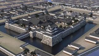 尼崎城天守2階の「VRシアター」では、VR(バーチャルリアリティー)で再...