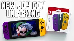 Nintendo Switch NEON Purple and Orange Joy Con Unboxing + Review (New Joycons 2019))