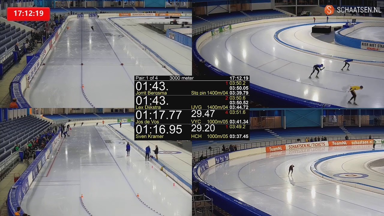 3000m. Kramer 3:40.69, Bergsma 3:43.96. Training Race 26