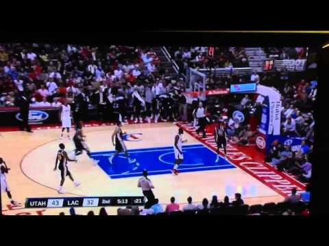 Utah Jazz Jeremy Evans block dunk block on Los Angeles Clippers Ronny T