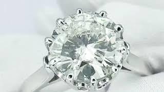 Vidéo: Solitaire en Or gris 18k avec Diamant de 3,12 Ct .K-P1 (HRD) .Taille 56.