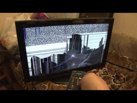 видео: panasonic tx-lr32x20 с разбитой матрицей