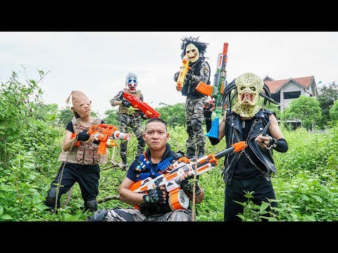 ltt-films-:-silver-flash-warriors-nerf-guns-fight-crime-group-bigman-mask-temple-guard