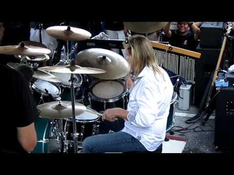Nicko McBrain peforming Wasted Years live @ Rock N Roll Ribs - 4/15/2011