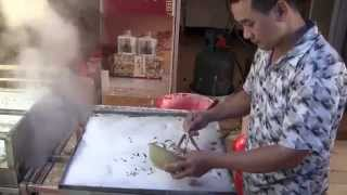 Rice Noodle Rolls In Big Tray Power Steamer  (traditional Chinese Cooking)