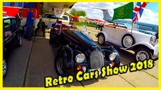 Classic and Retro Cars Show 2018. Old Cabriolet Bentley. Soviet Car Volga. British Mini Car