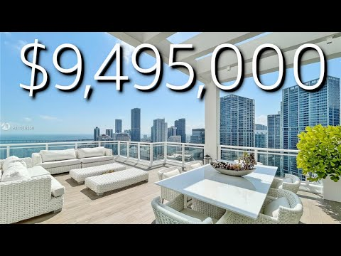 BEST VIEWS OF MIAMI IN THIS $9,495,000 THREE-STORY PENTHOUSE! PRIVATE POOL, ELEVATOR, 7 BALCONIES!