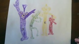 Teletubbies Tinky-Winky Laa-Laa Dipsy Po - 7 year old boy drawing with Red Angry Birds pen