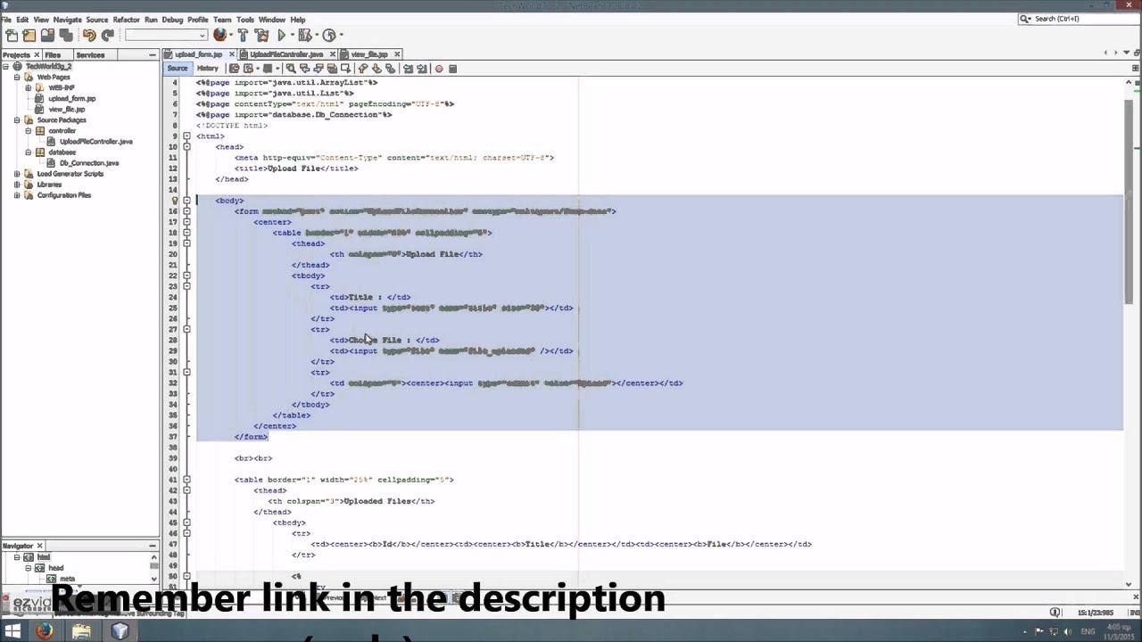 Upload file to database (JSP - Servlet - MySQL) using BLOB