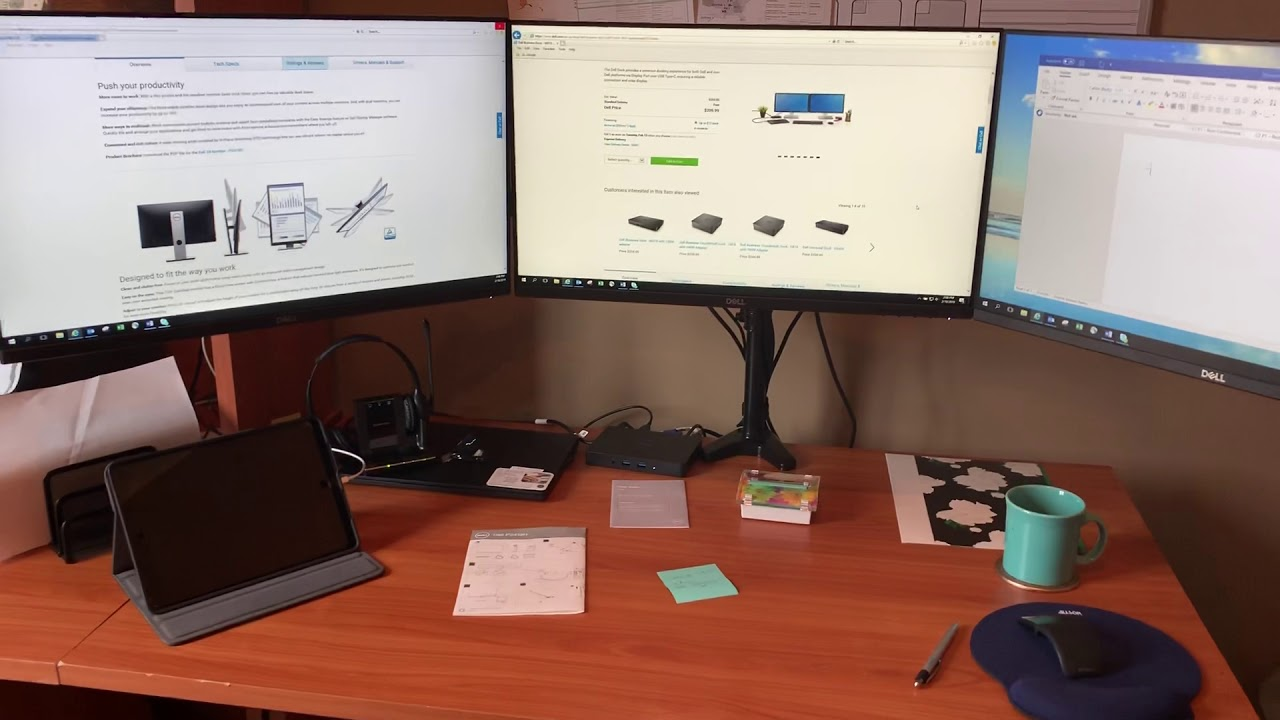 "How to set up three Dell 24"" Display Monitors using Dell Business Dock -  WD15 with 180W adapter"
