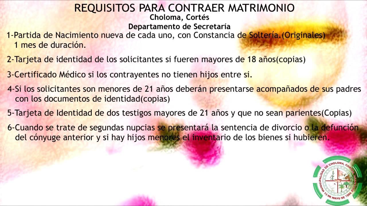 Requisitos para contraer matrimonio youtube - Requisitos para casarse ...