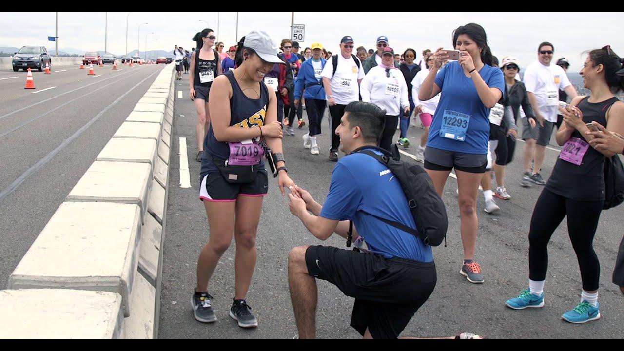 Happy us navy couple gets engaged atop san diego coronado for Bay bridge run 2016
