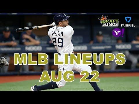 MLB DFS Lineups - Thurs 8/22 - Four Corners - DraftKings, FanDuel, Yahoo - Awesemo.com