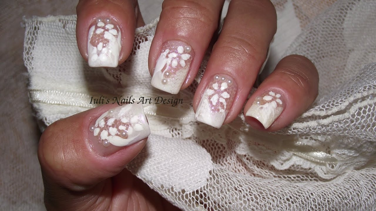 Nail Art Design French manicure Natural Lace White on white Long ...
