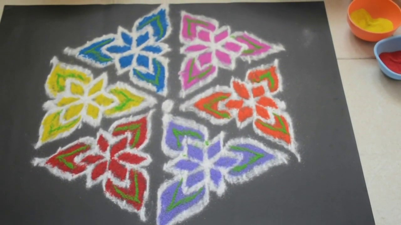 Pulli Kolam Collections Rangoli Designs With Colours And Dots 6 Youtube