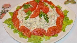 Салат: маринованные шампиньоны курица