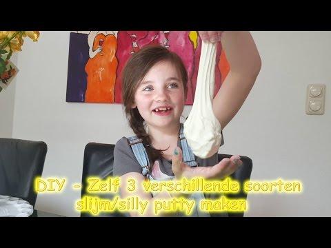 DIY - Zelf 3 soorten slijm maken - silly putty maken bijv met maïzena en crèmespoeling! (Nederlands)