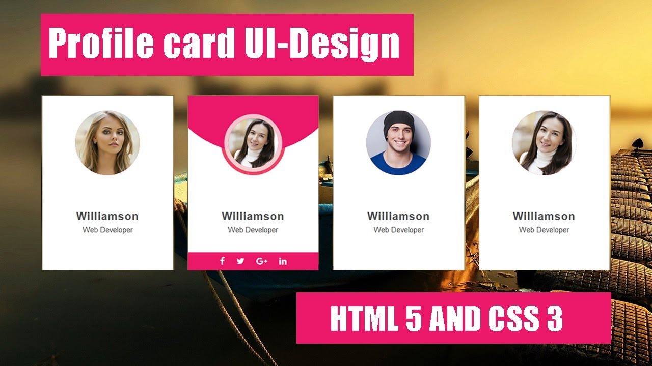 How To Create Profile Card Ui Design Html 5 Web Design Tips