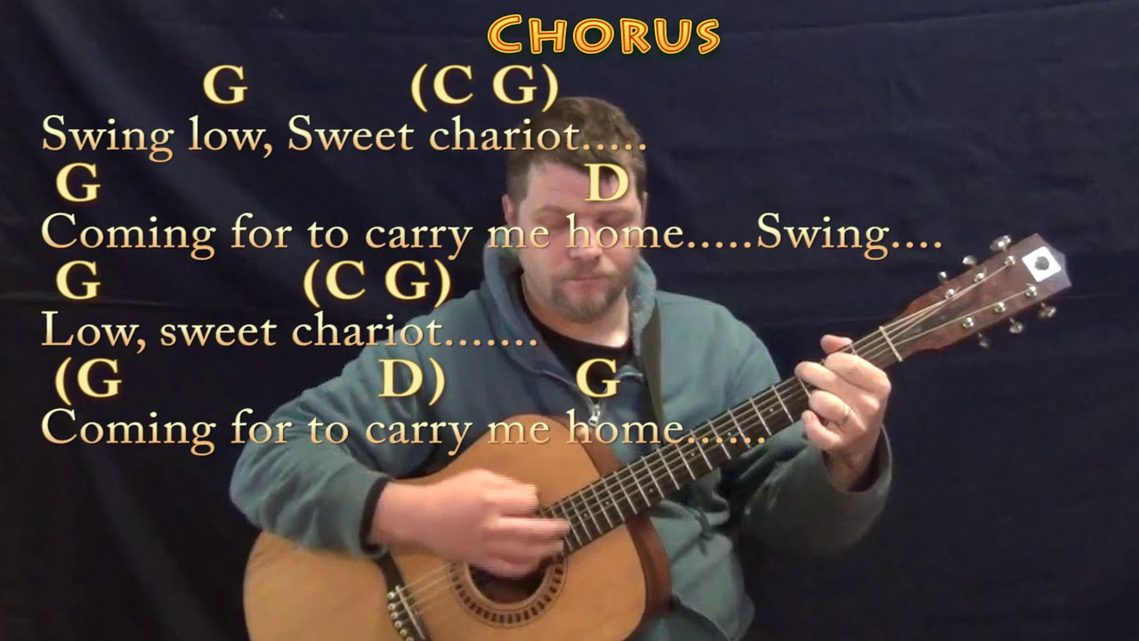 Swing Low Sweet Chariot Spiritual Guitar Lesson Chord Chart In G