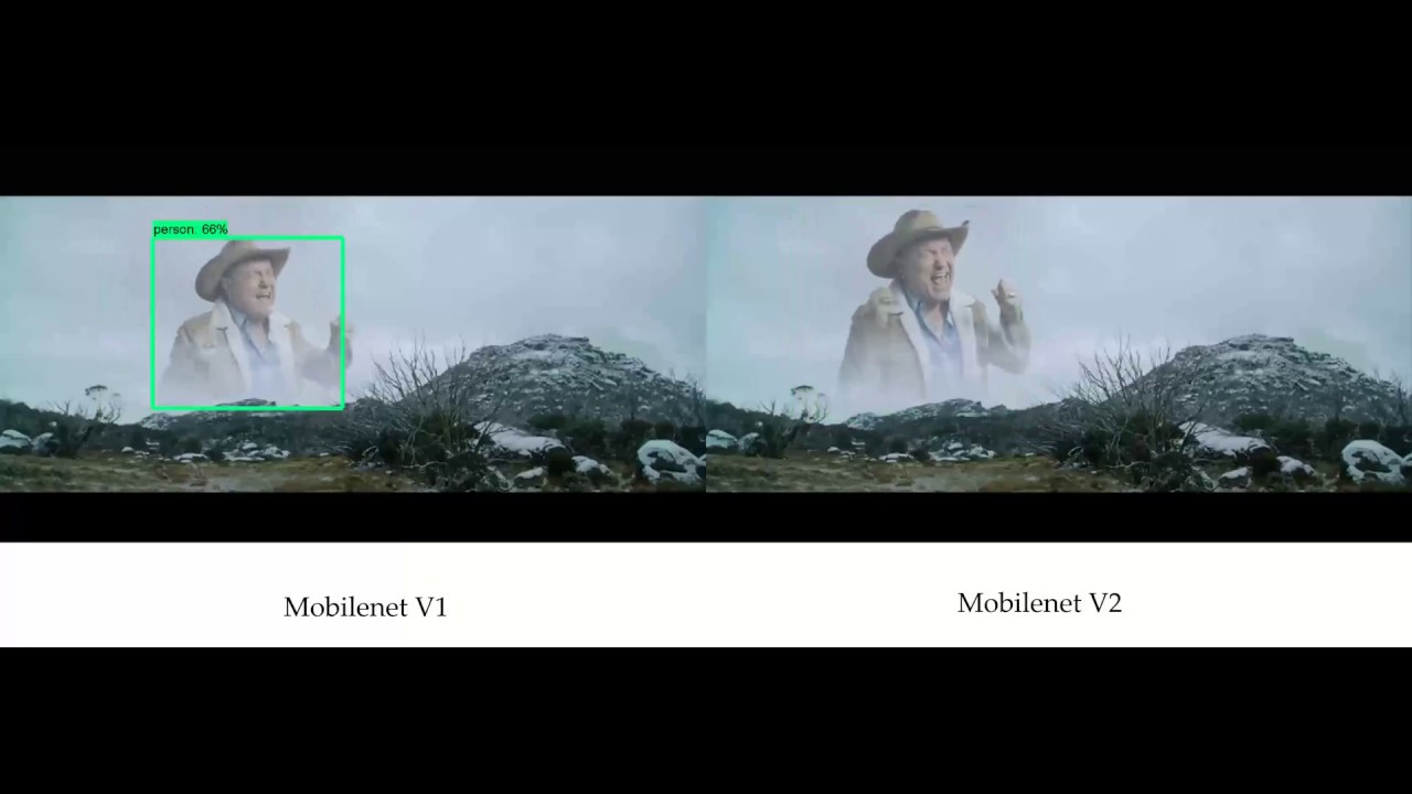 Mobilenet v1 vs Mobilenet v2 on person detection