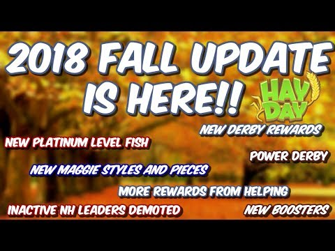 HAY DAY-FALL UPDATE 2018!! NEW BOOSTERS!! NEW FISH!! POWER DERBY!!