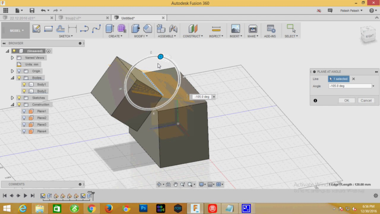 How to Create plane at angle Object in Fusion 360