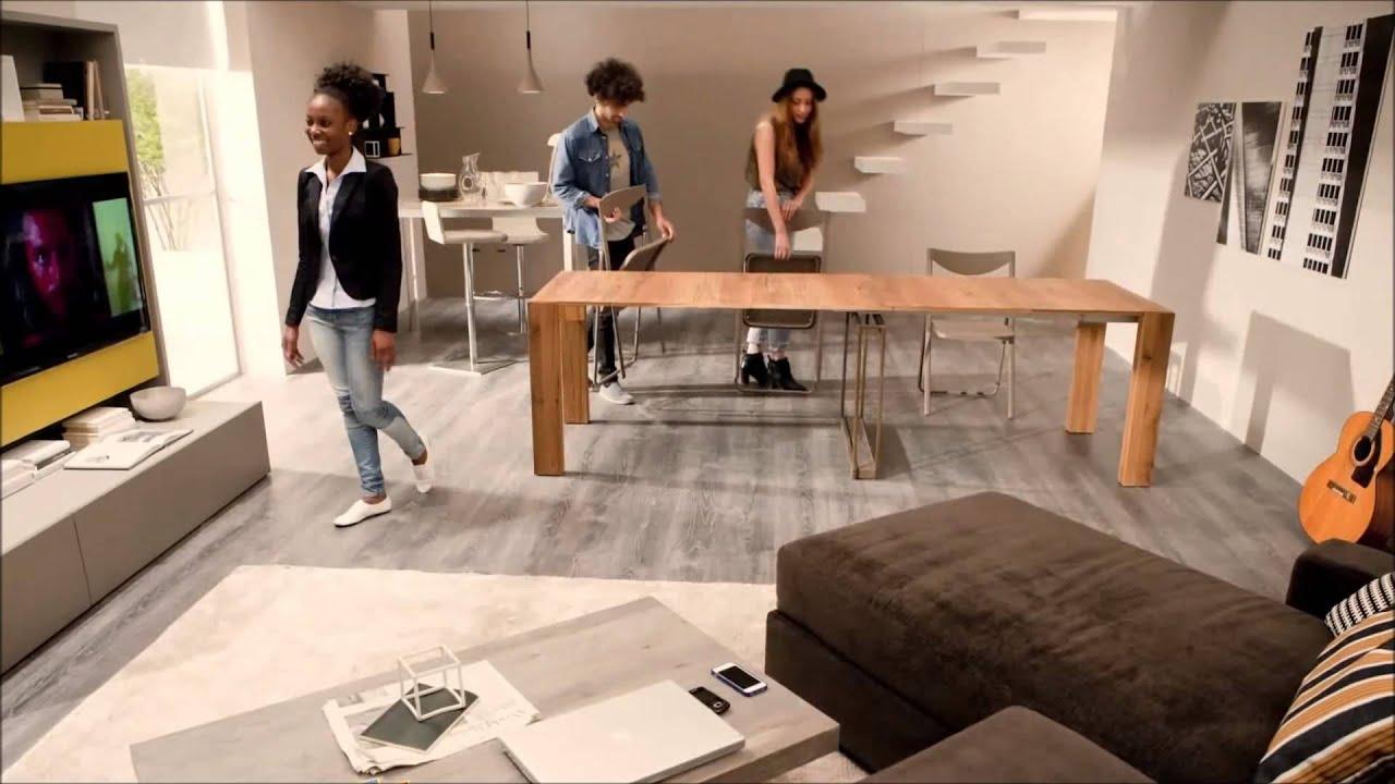 Consola mesa transformable convertible en comedor youtube for Mesa comedor transformable