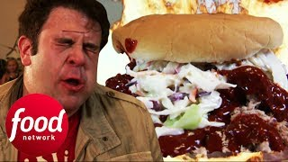Seriously Hot Pulled Pork Burger Leaves Adam Speechless | Man v Food