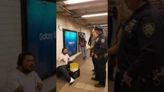 NYPD and Homeless Disabled Subway Drummer Confrontation