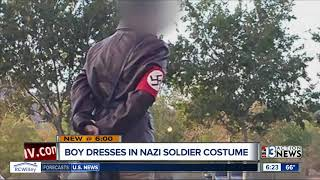 Boy dresses in Nazi soldier costume