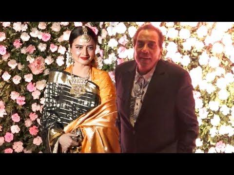 Rekha And Dharmendra Together At Kapil Sharma Ginni Chatrath Mumbai Reception 2018