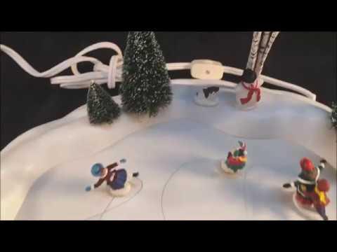 Department 56 Village Animated Skating Pond Christmas Winter Display