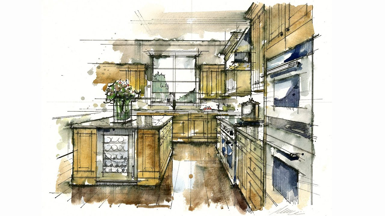 Tutorial Hand Rendering Rapid Watercolor Kitchen