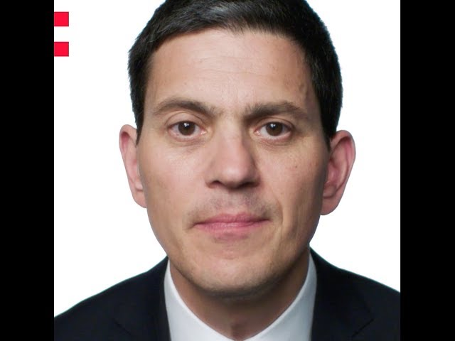 Frame of a video of David Miliband speaking about the Odyssey project