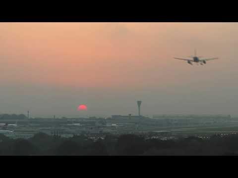 Red sunset Storm Ophelia UK London Heathrow airport
