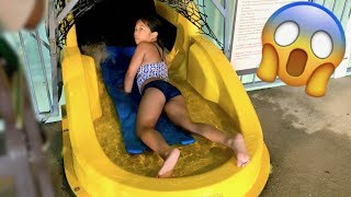Scary Sliding Head First from 5 Stories High Twister Tunnel #WaterSlide Indoor #Waterpark
