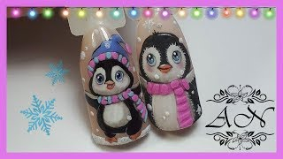 Рисунок на ногтях гель-лаком: Милый пигвинчик| Зимний дизайн ногтей