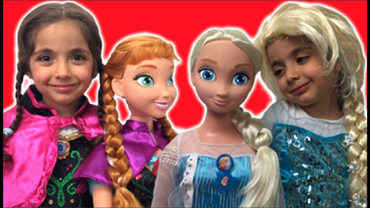 Elsa And Anna Dress Up Giant Dolls Anna S Birthday