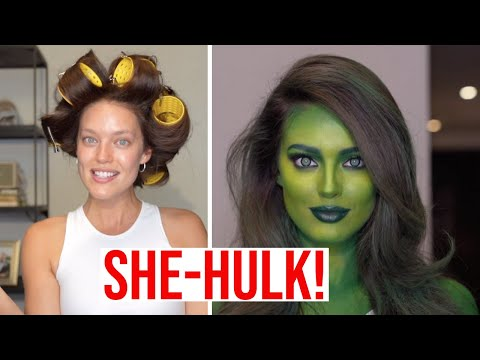 SHE-HULK TRANSFORMATION! Halloween Makeup Tutorial With Erin Parsons + Emily DiDonato thumbnail