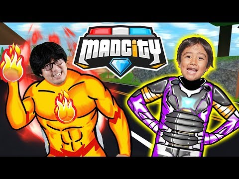RYAN HAS A NEW HERO SUIT IN MAD CITY ROBLOX  Let&39;s Play Ryan Vs Daddy