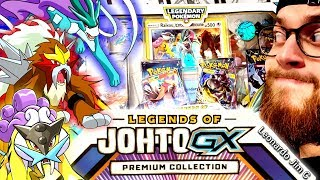 Legendary pull! opening new box legends of johto gx premium collection! show !