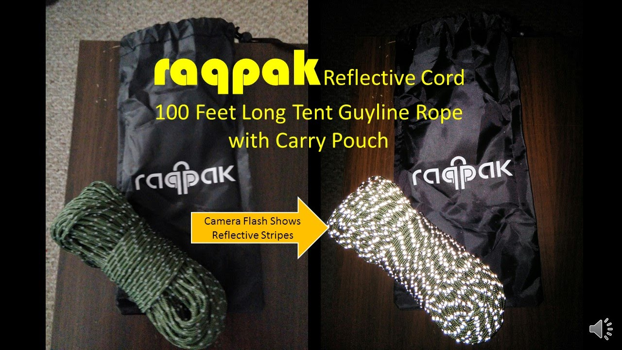 Raqpak Reflective Cord 100 Feet Long Tent Guyline Rope with Carry Pouch (Green) - YouTube & Raqpak Reflective Cord 100 Feet Long Tent Guyline Rope with Carry ...