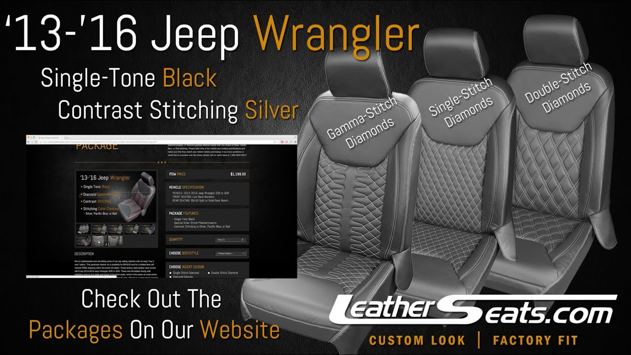 Jeep Wrangler Jk >> Special Order Diamond Stitch Inserts - Jeep Wrangler 4DR Unlimited - LeatherSeats.com - YouTube