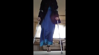 Repeat youtube video Amputee (RAK) Woman with Stiletto Shoe and Crutch Stump