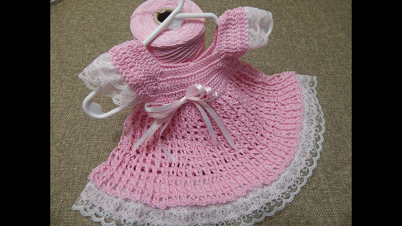 Vestido 0 meses Encaje Crochet - YouTube